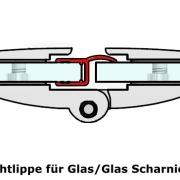 Dichtprofil - Dichtlippe für Glas - Glas Scharniere - 2m