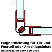 Dichtprofil - Magnetdichtung für 90 oder 180 Grad ein Paar - 2m