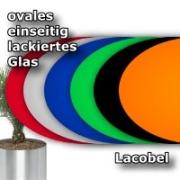 ovales Lacobel, einseitig lackiertes Glas mit Farbauswahl