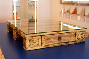 Glasplatte 6mm 80x67 cm für Europalettenmöbel