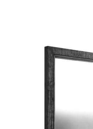 Rusticale Schwarz Echtholz-Wandspiegel