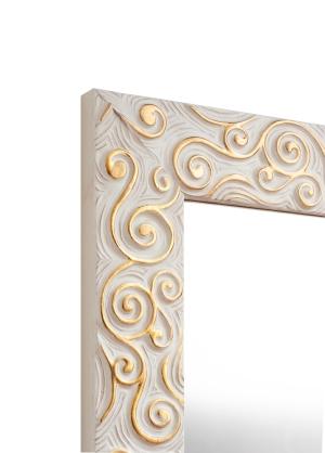 Arte Weiß-Gold Echtholz-Wandspiegel